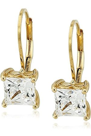 LA LUMIERE Plated Sterling Silver Made with Cubic Zirconia from Swarovski® Princess-Cut Lever Back Earrings (2.5 CTTW)