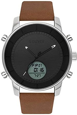 s.Oliver Time Mens Analogue-Digital Quartz Watch with Leather Strap SO-3619-LD