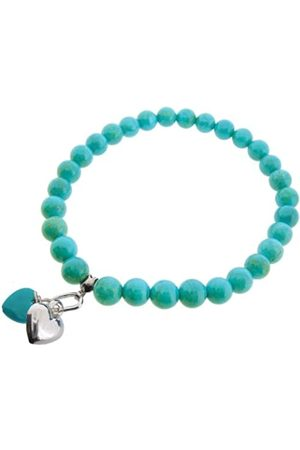 Earth Turquoise heart and Sterling Silver Heart on Turquoise Beaded Stretch Bracelet - from the Collection