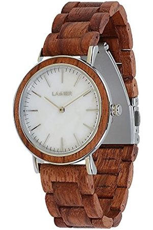 Laimer Women's Woodwatch ELSA Mod. 0094 rosewood & white marble dial - Analogue Quartz-Wristwatch with red-brown wood-strap
