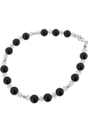 Earth Clear Swarovski Crystal and Onyx Bracelet at 19cm in Length