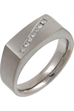 THEIA Titanium 0.14ct Diamond Matt 7mm Signet Ring - Size M