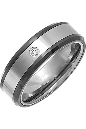 THEIA Nickel Free Tungsten & Ceramic - Highly Polished with 1 x CZ Stone - 7mm Wedding Ring for Gents - Size T