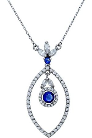 Citerna Sterling Silver Open Marquise Cubic Zirconia Filled Necklace with a Hanging Round Sapphire Stone on a 46 cm Chain