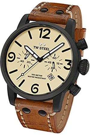 TW steel Maverick Unisex Quartz Watch with Beige Dial Chronograph Display and Brown Leather Strap MS43