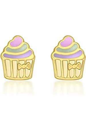Carissima Gold 9ct Yellow Gold Enamel Cupcake Stud Earrings