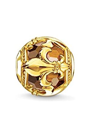 Thomas Sabo Women Men-Bead Fleur-de-lis Karma Beads 925 Sterling Silver 18k yellow plating tigers eye brown K0235-887-2