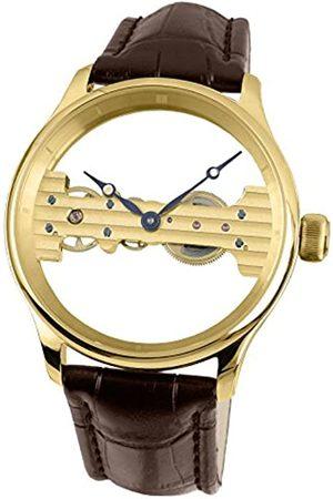 Davis 1701 Men's Yellow Gold Skeleton Mechanical Watch, Baguette Movement, Steel Case