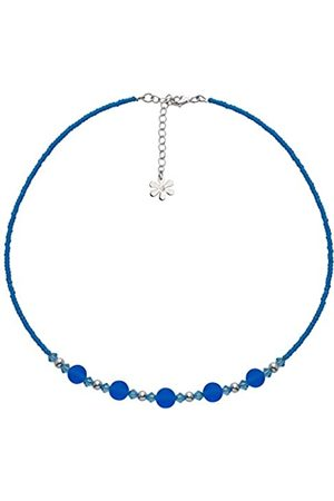 Amanti Venezia Aqua Bead and Swarovski Sterling Silver Necklace of Length 41-45 cm