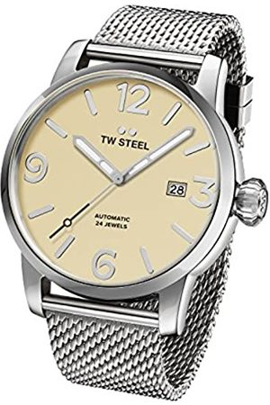 TW steel Maverick Unisex Automatic Watch with Beige Dial Analogue Display and Grey Stainless Steel Bracelet MB5