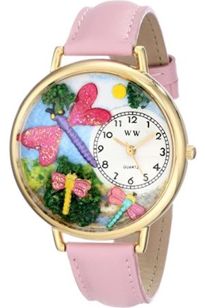 Whimsical Dragonflies Pink Leather and Goldtone Unisex Quartz Watch with Dial Analogue Display and Leather Strap G-1210007