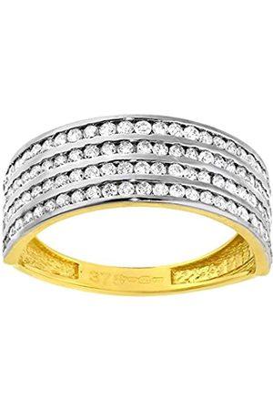 Citerna Women's 9 ct Gold Pave Set 4 Row Cubic Zirconia Half Eternity Ring