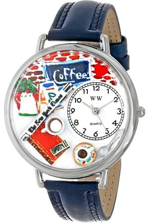 Whimsical Watches Coffee Lover Navy Blue Leather and Silvertone Unisex Quartz Watch with Dial Analogue Display and Leather Strap U-0310006