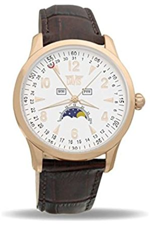 Davis 1506 - Mens Moon Phase Watch Rose Gold Triple Date White Dial Leather Strap