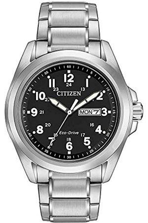 Citizen Wr100 Men Solar Powered Watch with Dial Analogue Display and Stainless Steel Bracelet Aw0050-82E