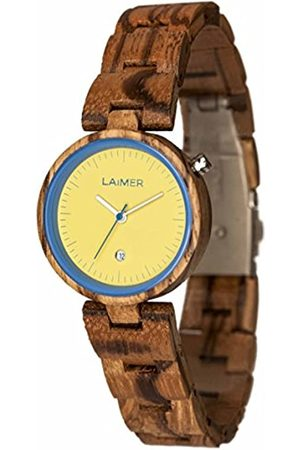 Laimer Wood watch NICKY BLAU – women's wristwatch made of 100% Zebrano wood - simple elegance