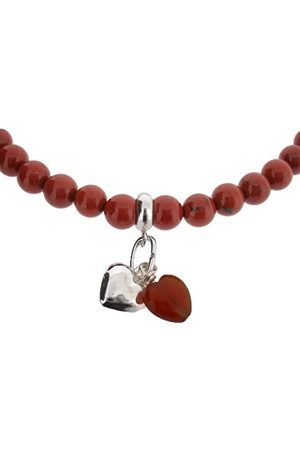 "Earth Carnelian Heart and Sterling Silver Heart on Jasper Beaded 18"" Necklace - from the Collection"