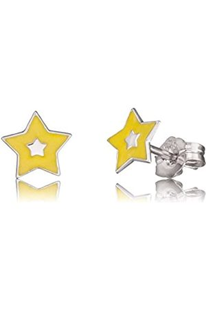 HERZENGEL Shine Ear Studs for Girls with Little Star 925-Sterling Silver Rhodium Plated Size 7 mm