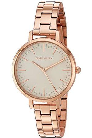 Karen Millen Women's Quartz Watch with Rose Dial Analogue Display and Rose Stainless Steel Bracelet KM126RGM