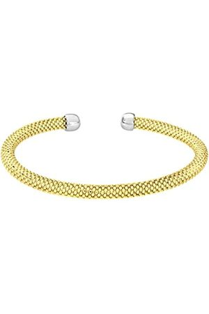 Citerna Women's 925 Sterling Silver Yellow Plated Silver Mesh Cuff Bangle