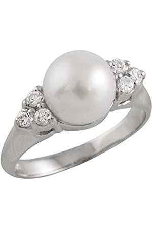 Bella Pearls Freshwater Pearl and Cubic Zirconia Sterling Silver Ring - Size N