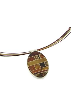 Nova Silver Mosaic Amber Oval Necklace on a Coloured Stainless Steel Multi Strand Wire