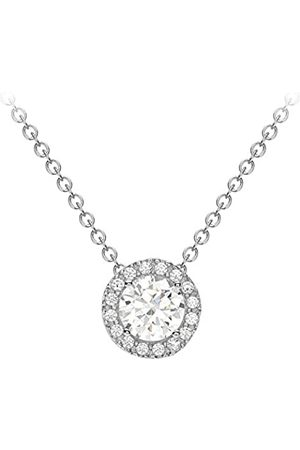Carissima Gold Women's 9 ct Cubic Zirconia 7.6 mm Sliding Pendant Necklace of Length 46 cm/18 Inch