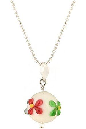 Amanti Venezia Exclusive Floral Murano Glass Stud Drop Pendant on a Chain of 46cm