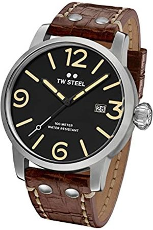 TW steel Maverick Men's Quartz Watch with Black Dial Analogue Display and Brown Leather Strap MS2