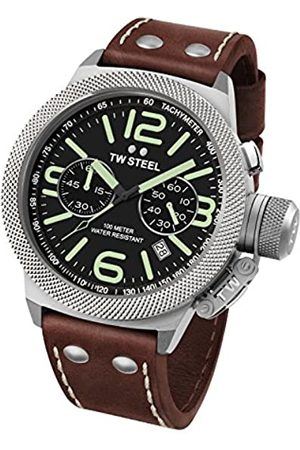 TW steel Watches - Canteen Leather Unisex Quartz Watch with Black Dial Chronograph Display and Brown Leather Strap CS24