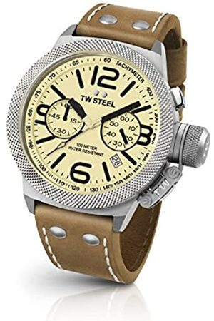 TW steel Canteen Unisex Quartz Watch with Off-White Dial Chronograph Display and Brown Leather Strap CS13