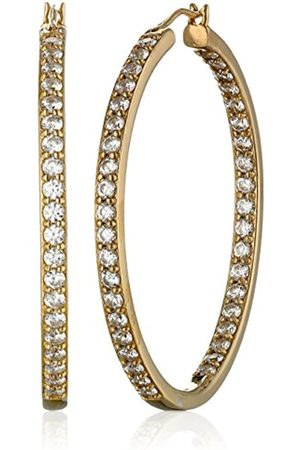 La Lumiere Plated Sterling Silver Made with Cubic Zirconia from Swarovski® Round-Cut 3.81cm Hoop Earrings