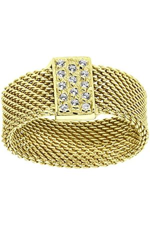 Citerna Yellow Plated Silver Mesh Ring with Cubic Zirconia Bar - Size L