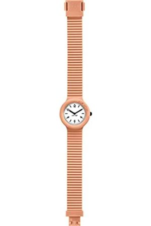 Hip HIP-HOP Ladys' Essential Watch Collection with Logo White dial 3 Hands Quartz Movement and Silicon Orange Strap HWU0568