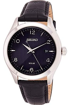 Seiko Mens Analogue Solar Powered Watch with Stainless Steel Strap SNE491P1
