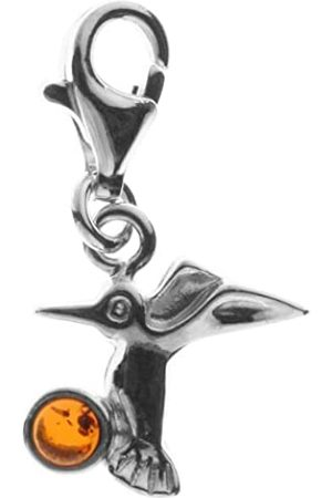 InCollections Women's Charm Hummingbird Pendant 925/000 Sterling and Amber 0020200910890