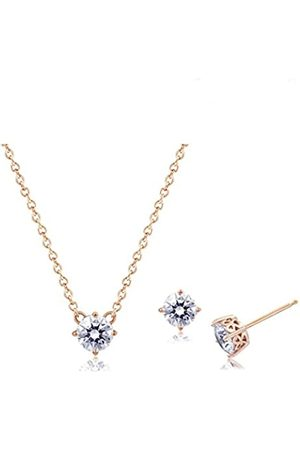 La Lumiere Rose Gold Plated Sterling Silver Made with Cubic Zirconia from Swarovski® Pendant Necklace and Stud Earrings Jewelry Set