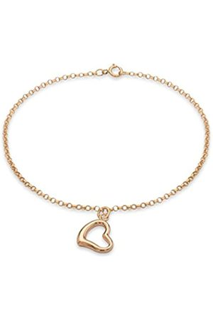 Carissima Gold Women's 9 ct Rose Heart Charm 1.5 mm Round Belcher Chain Bracelet of Length 18 cm/7 Inch