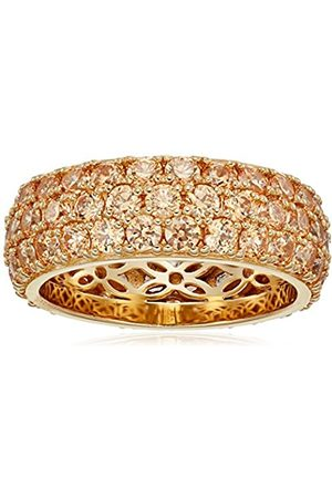 Amazon Collection Gold-Plated Sterling Silver Swarovski Zirconia Fancy Three-Row Pave Round Cut Ring