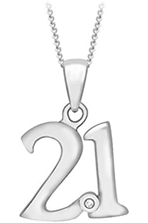 Carissima Gold Women's 9 ct 0.005ct Diamond Rubover Set 21 Pendant on 9 ct 0.7 mm Diamond Cut Adjustable Necklace of Length 41 cm/16 Inch - 46 cm/18 Inch