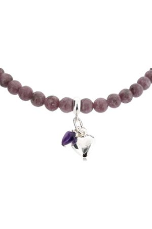 "Earth Amethyst Heart and Sterling Silver Heart on Lepidolite Beaded 18"" Necklace - from the Collection"
