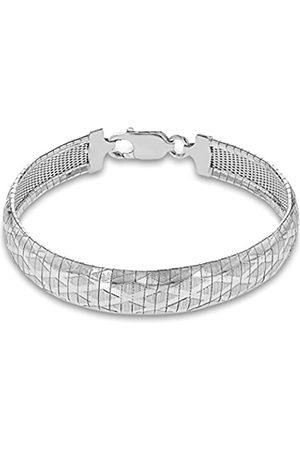 Tuscany Silver Sterling Men's Cleopatra Style Diamond Detail Bracelet of Length 19cm19