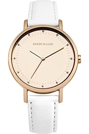 Karen Millen Women's Quartz Watch with Rose Dial Analogue Display and Leather Strap KM139WRG