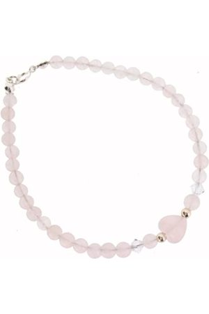Earth Skinny Heart Bracelet in Rose Quartz of Length 20cm