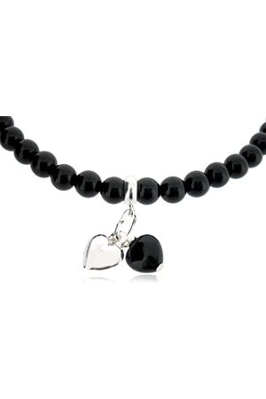 "Earth Onyx Heart and Sterling Silver Heart on Onyx Beaded 18"" Necklace - from the Collection"