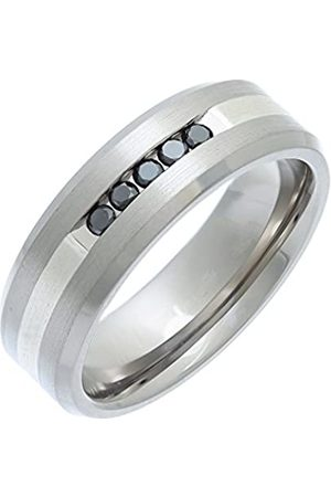 THEIA Titanium and Silver Inlay Flat Court 0.15ct Treated Black Diamond Matt 7mm Ring - Size S