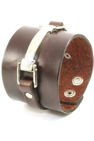 cored Q396 Bracelet Leather with Stainless Steel Element Size Adjustable 5 cm Wide