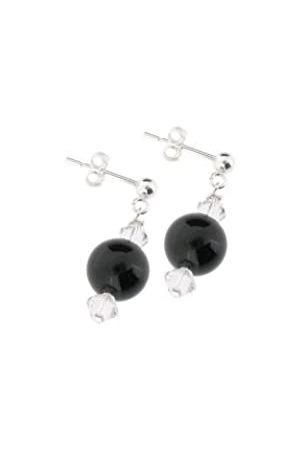 Earth Onyx and Swarovski Crystal Beaded Earrings at 2.5cm in Length