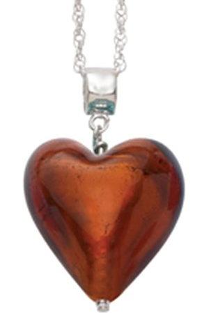 Amanti Venezia Murano 20 mm Copper Heart with Sterling Silver Chain of Length 45.0 cm
