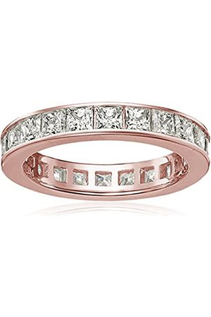 La Lumiere Rose Gold-Plated Sterling Silver Swarovski Zirconia Channel Princess All-Around Ring